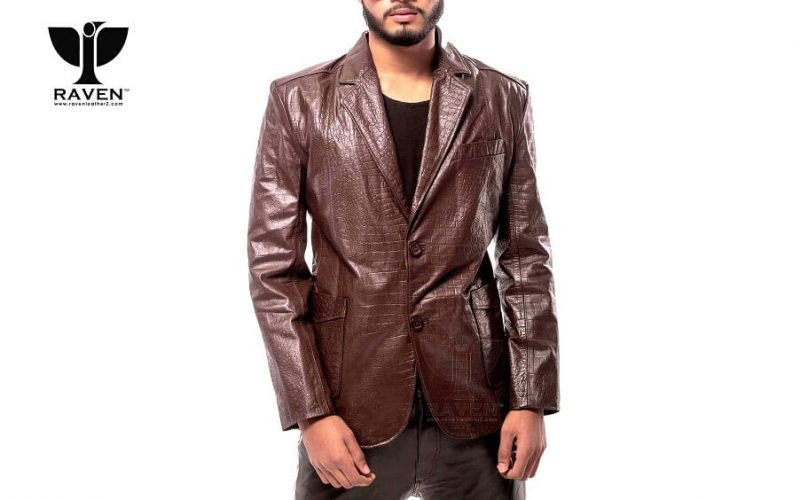 RBC- 09 Brown Slim Fit Crocodile Ambushed Blazer