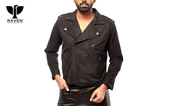RBH-10 Black Oil Finished Slim Fit Cropped Biker Jacket