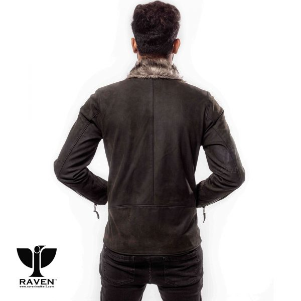 RBH-10 Stylish Slim Fit Cropped Biker Jacket for Men Back Side