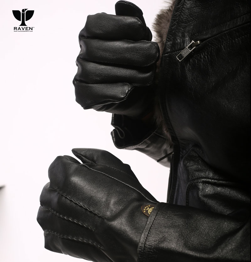 RFG-02 Quilted Upper Genuine Leather Gloves For Men