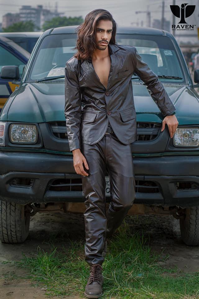 RB-02-Black Slim Fit Genuine Leather Blazer
