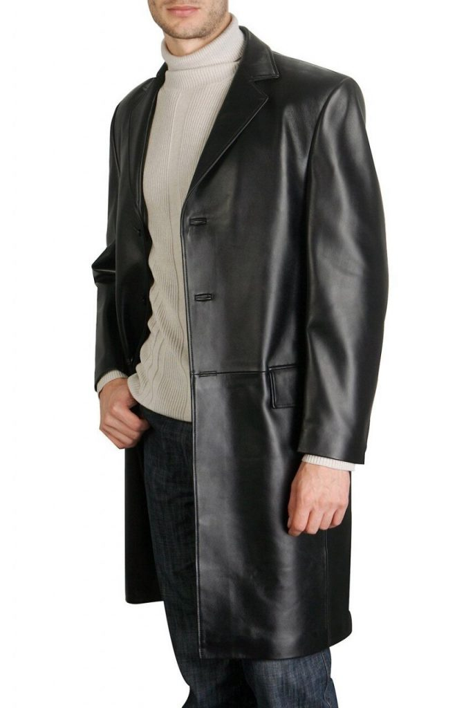 Black-Color-Semi-Long-Leather-Blazer-Style-Pull-Over