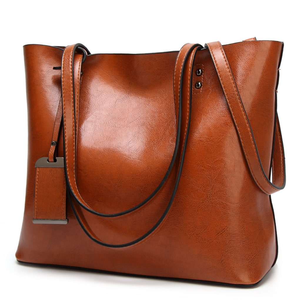 Genuine-Leather-Ladies-Bucket-Shape-Large-Size-Messenger-Shopping-Handbag