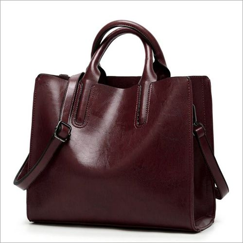 Genuine-Leather-Maroon-Color-Bucket-Shape-Ladies-Handbag