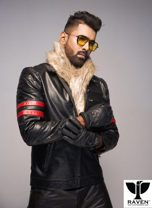 RA-02-Stylish-Cropped-Rider-Jacket-For-Men-With Quilted Upper Full Hand Gloves