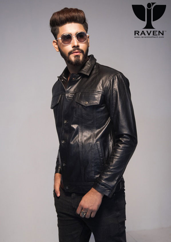 RJ-02 Shirt Style Genuine Leather Field Jacket  for Men