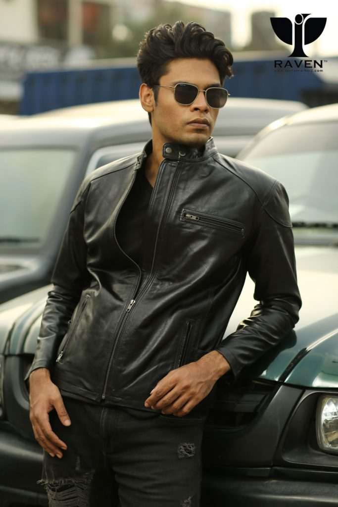 RZ-04 Black Slim Fit Racing Jacket For Men