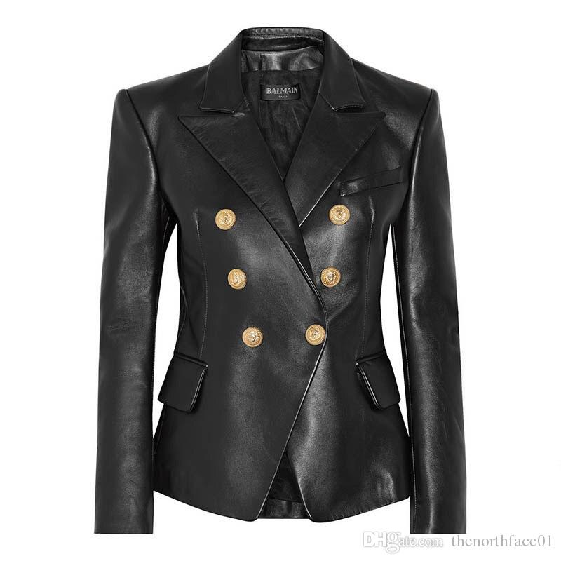 Black Color Genuine Leather Slim Fit Winter Coat for Women