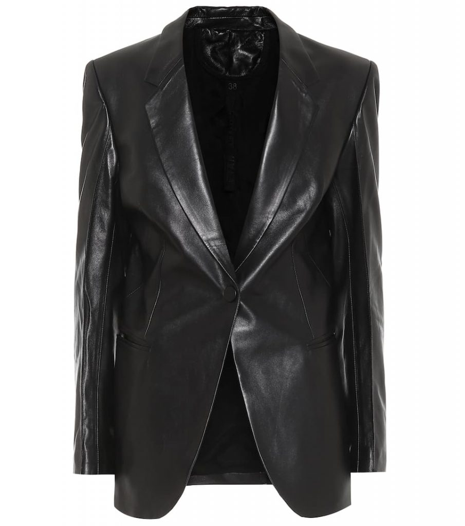 Black-Color-Single-Brested-Leather-Blazer